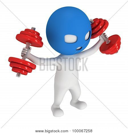3D Man In Mask With Red Dumbbells