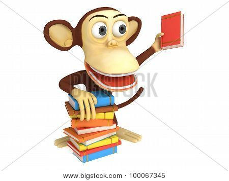 3D Cute Monkey With Stack Of Books