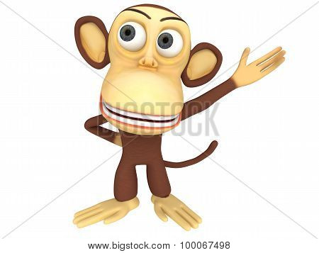 3D Cute Monkey Presenting Something