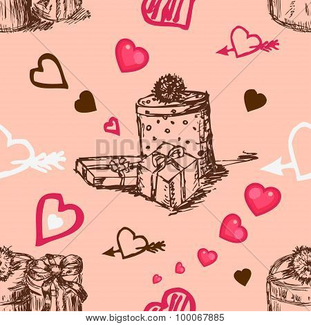 Pink Background with hearts and gift boxes