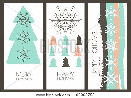 Set Of Vector Hand Drawn Christmas Or New Year Greeting Cards. Linear Snowflakes, Fir Tree And Water