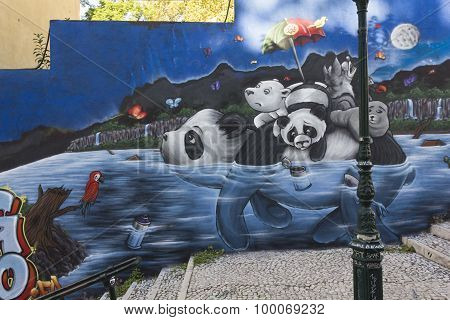 Panda Graffiti In Lisbon