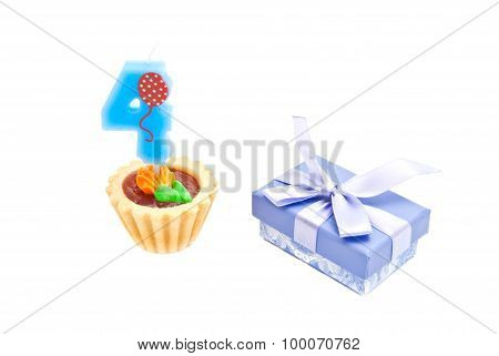 Cake With Four Years Birthday Candle And Gift On White