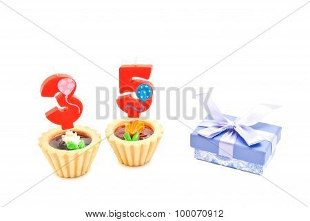 Cakes With Thirty Five Years Birthday Candles And Gift