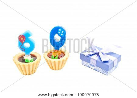 Cakes With Sixty Years Birthday Candles And Gift