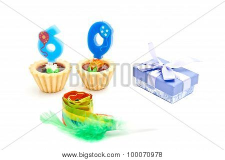 Cakes With Sixty Years Birthday Candles, Whistle And Gift