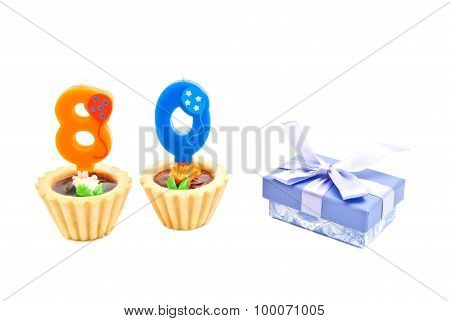 Cakes With Eighty Years Birthday Candles And Gift