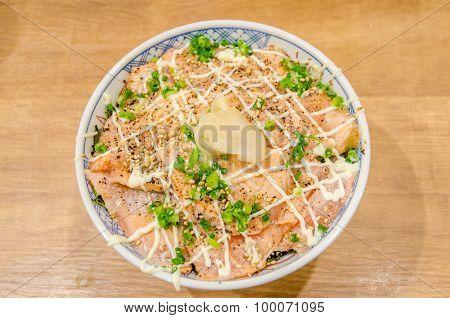 Salmon Don Or Salmon Rice Bowl