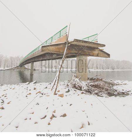 Angled View of a Damaged Bridge