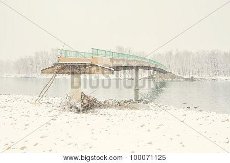 Damaged Bridge in the Snow