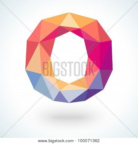 Number zero in modern polygonal crystal style.  illustration