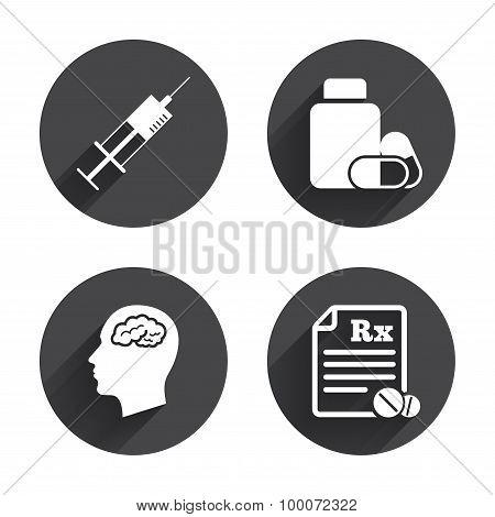 Medicine icons. Tablets bottle, brain, Rx.