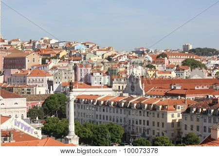 View From The Top Of Rossio Square In Lisbon