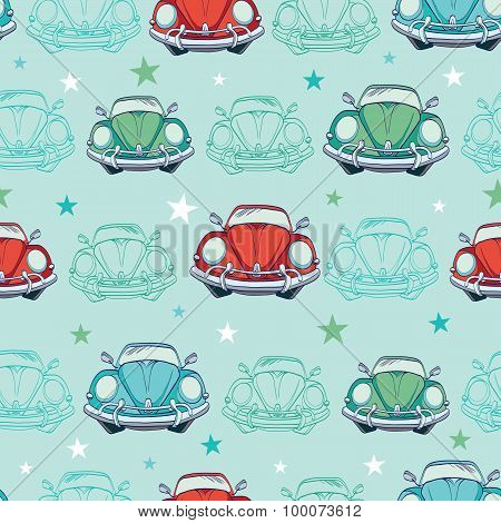 Vector Colorful Vintage Cars Seamless Pattern. Funny Headlights. Auto Repair
