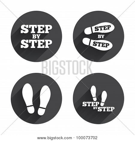 Step icons. Footprint shoes symbols.