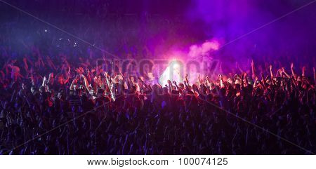Cluj-Napoca, Romania - July 30, 2015: Crowd of people enjoy live concert at the Untold Festival in the European Youth Capital city of Cluj Napoca