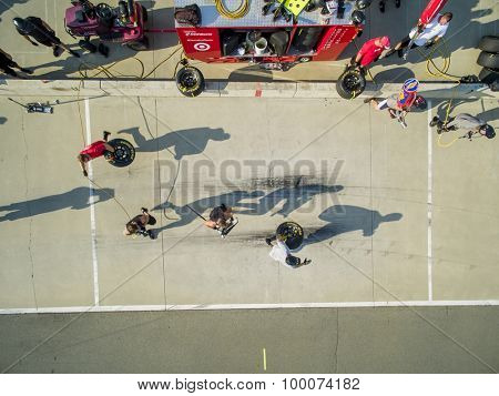 Concord, NC - Aug 04, 2015:  The Chip Ganassi Racing teams practice their pit stops at  Chip Ganassi Racing Headquarters in Concord, NC.
