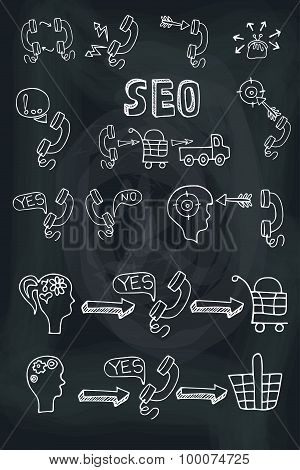 Doodle scheme main activities telephone marketing icons.Chalkboa