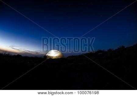 Fisheye Shot Of Tent And Stars