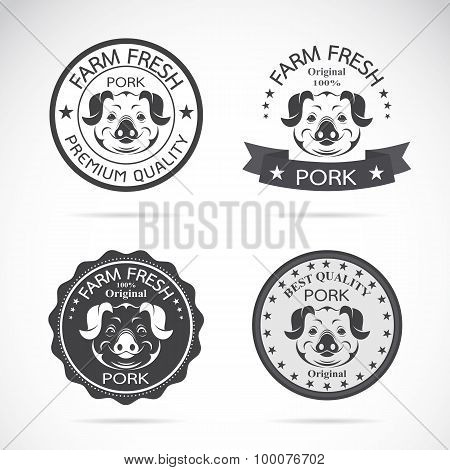 Set Of Vector Pig Label On White Background