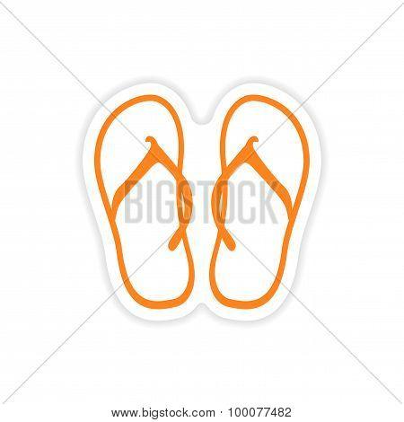 icon sticker realistic design on paper beach flip flops