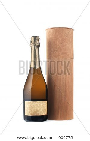 Champagne Bottle Whit Wooden Box