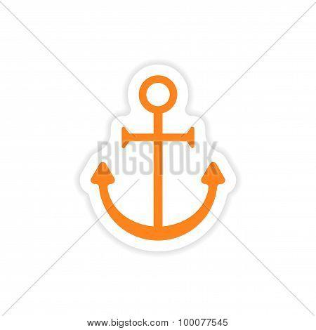 icon sticker realistic design on paper anchor bright
