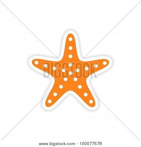 icon sticker realistic design on paper sea star