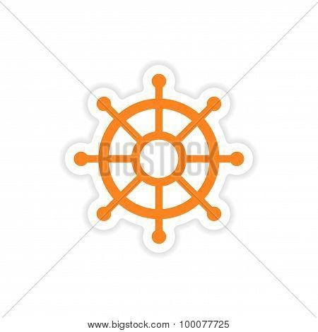 icon sticker realistic design on paper ship wheel