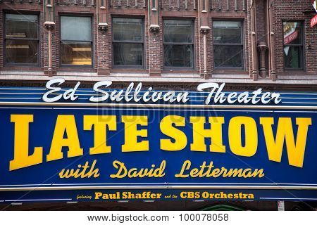 NEW YORK CITY, USA - SEPTEMBER, 2014: The Late Show with David Lettermann aired in the Ed Sullivan Theater NYC