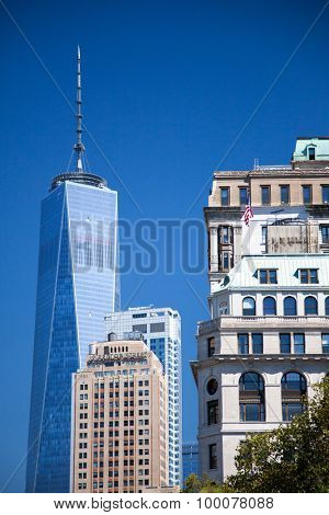 NEW YORK CITY, USA - SEPTEMBER, 2014: World Trade Center One next to other buildings
