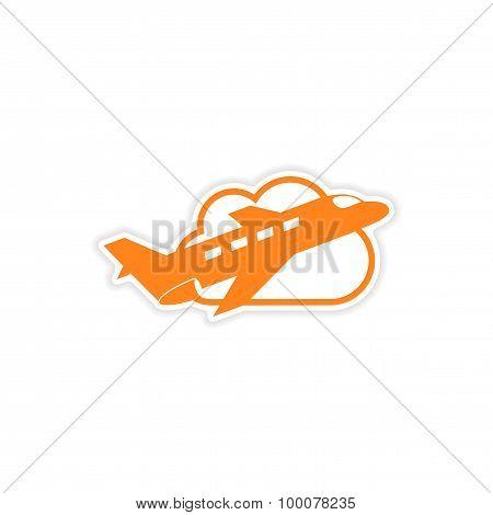 icon sticker realistic design on paper airplane flight