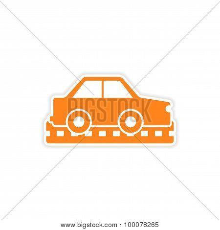 icon sticker realistic design on paper cars