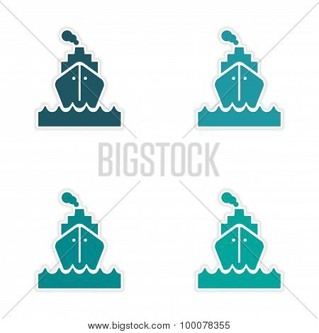 assembly realistic sticker design on paper sea ship