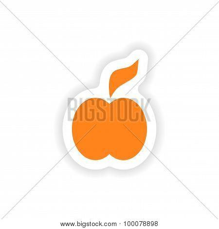 icon sticker realistic design on paper apple