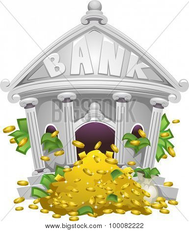Illustration of a Bank Filled with Piles of Money and Gold