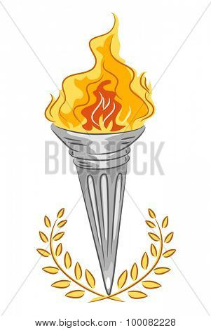 Illustration of a Silver Torch with Adorned with Golden Leaves