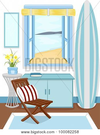 Illustration of the Interior of a Cabin with a View of the Beach from the Window
