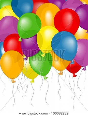 Background Illustration of Colorful Balloons Floating Freely