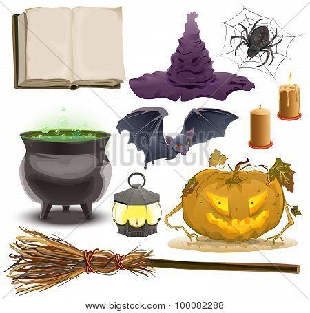 Set Halloween objects accessories. Pumpkin ,lantern, hat, broom, cauldron, spider, bat and old book