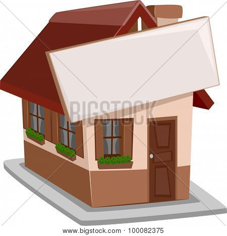 Illustration of a Single Detached House with a Sign Attached to It