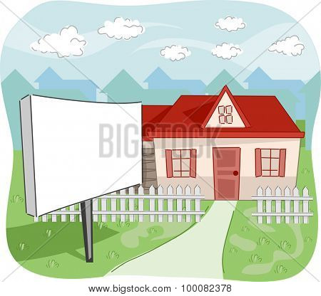 Illustration of a House with a For Sale Sign in Front of its Yard