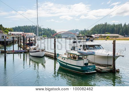 Pleasure Boats Docked in La Conner, Washington