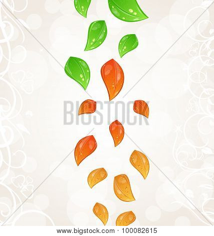 Autumn seasonal nature background with flying changing leaves