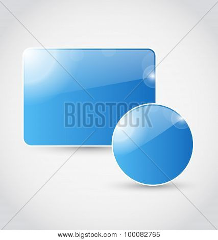 Set blue speech bubbles isolated
