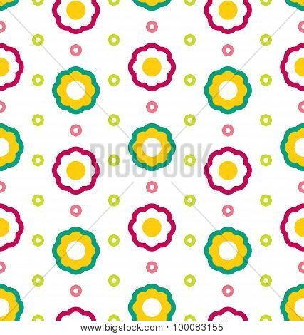 Illustration Seamless Texture with Flowers, Beautiful Kid Pattern