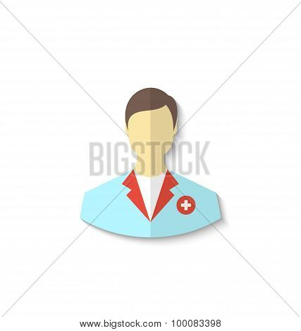 Flat icon of medical doctor with shadow isolated on white backgr