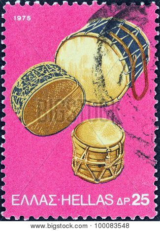 GREECE - CIRCA 1975: A stamp printed in Greece shows Tambourine Drums