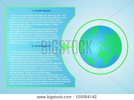 Background with globe and text place