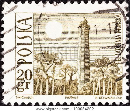 POLAND - CIRCA 1966: A stamp printed in Poland shows Hel Lighthouse, circa 1966.